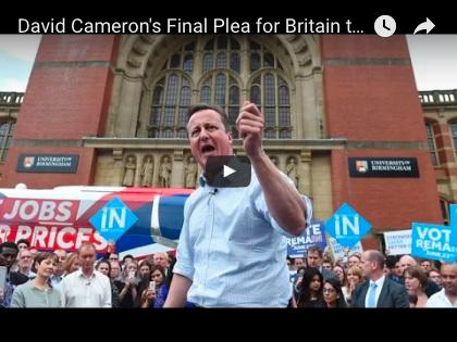 在公投前的最後演講中,卡梅倫挽起袖子,慷慨激昂,他懇求選民「把工作、經濟」放到第一位,不要一時意氣用事脫離歐盟,否則,後悔晚矣。(YouTube擷圖)
