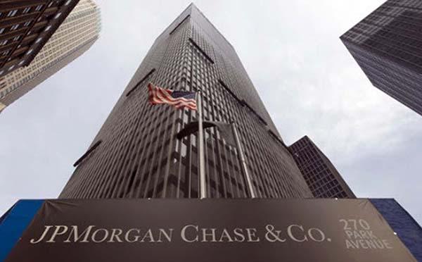 摩根大通財報暗示美國經濟強勁,4月12日道指大漲274點。圖為摩根大通在紐約的總部。(AFP)