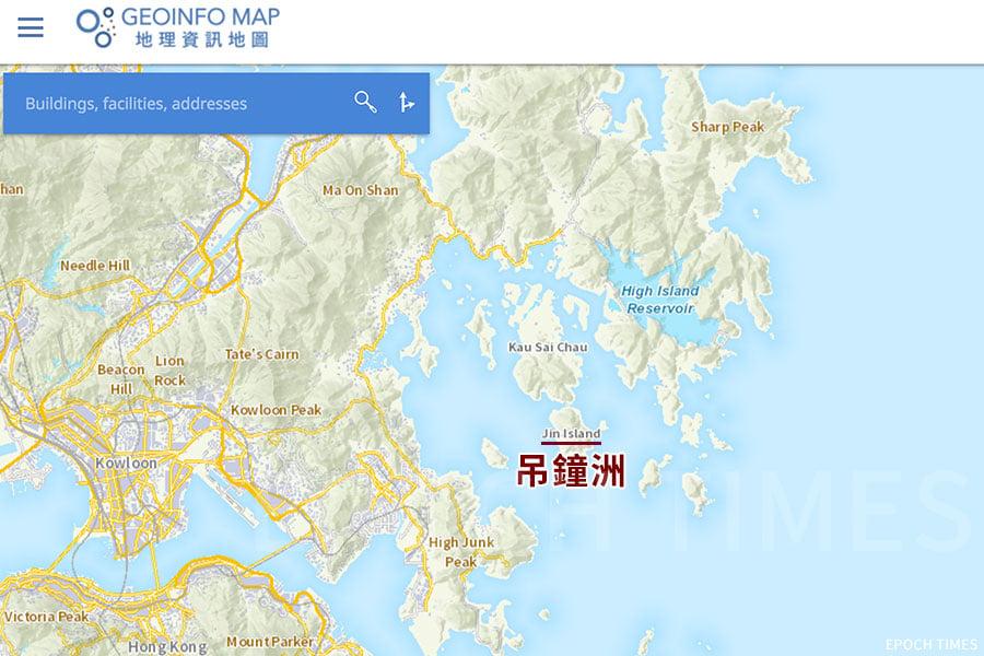 香港政府的網上「地理資訊地圖」,吊鐘洲的英文名仍以「Jin Island」標示。(網頁擷圖)