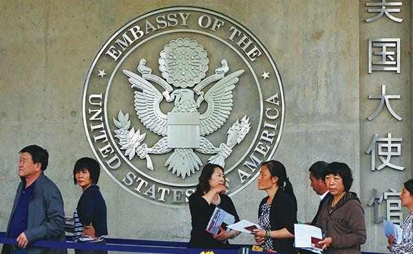 去年至少有30名與中共政府有關聯的中國學者赴美簽證被取消。(AFP)
