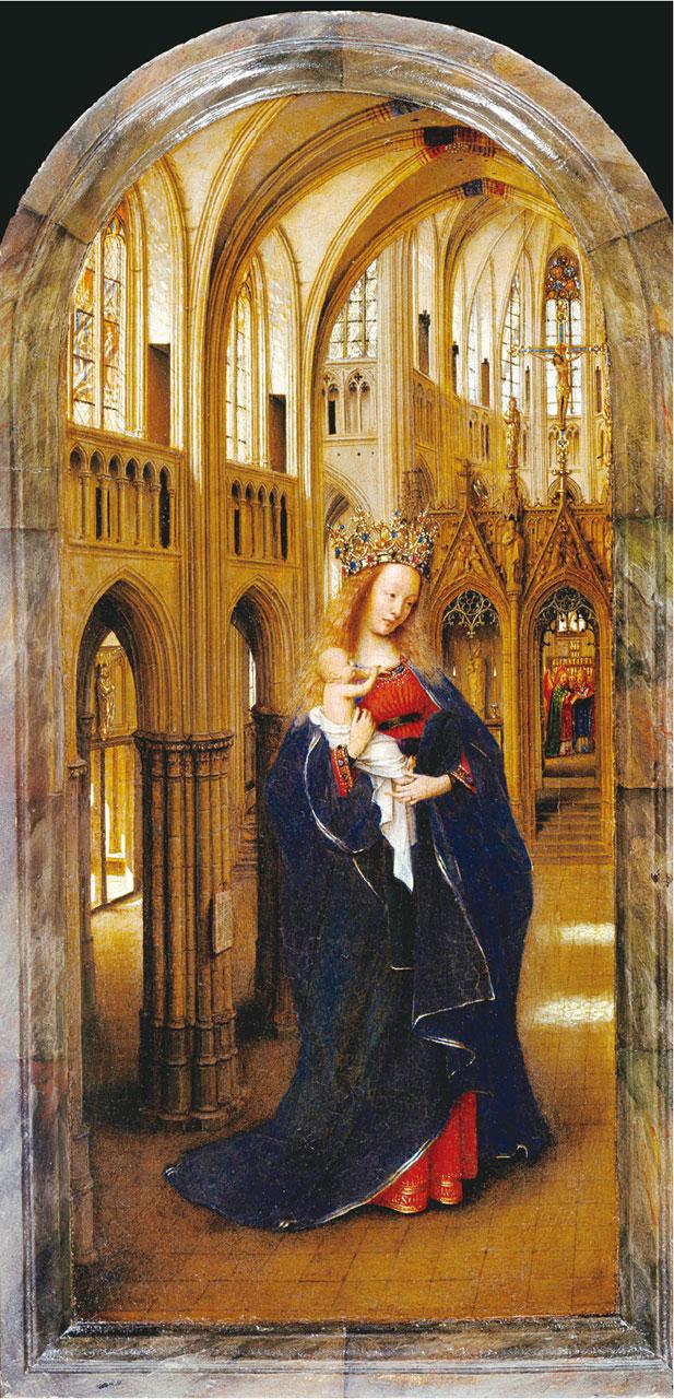 揚范艾克《教堂裏的聖母》(Madonna in the Church)局部,1430年, Staatliche Museen, Berlin- Dahlem。
