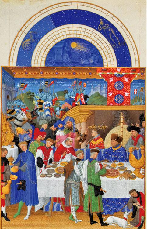 《貝里公爵的豪華時禱書》(或譯《貝里公爵豪華日課經》)之一月,為林堡兄弟(Paul and Jeande Limbourg)為勃艮地公爵所繪製。