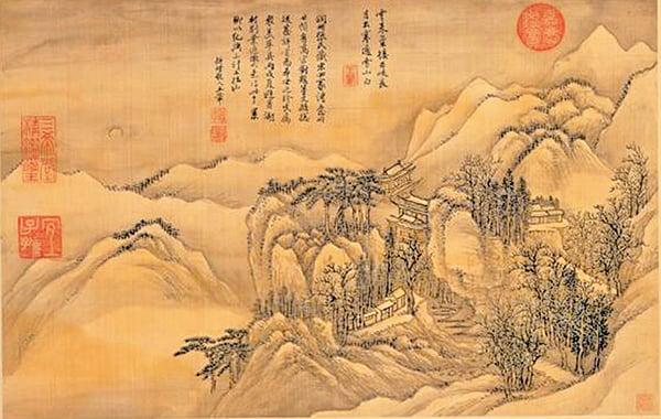 清‧王翬仿古山水〈月映千峯〉(公有領域)