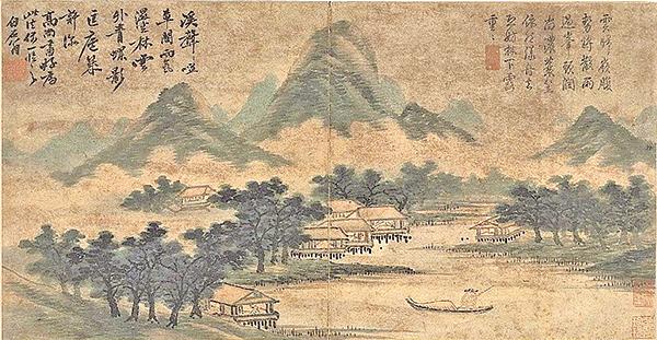 明‧沈周〈山水.仿高克恭雨景〉,台北國立故宮博物院藏(公有領域)