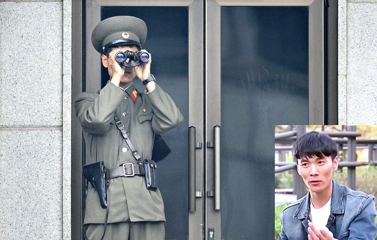 在2017年跨越板門店投誠的北韓士兵吳青成(小圖)接受NBC電視台訪問時說,他能存活是個奇蹟。(Getty Images)