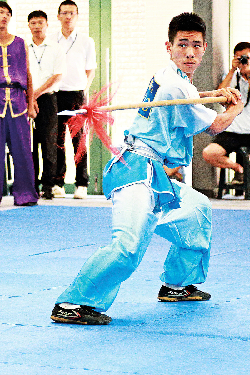 劉大雁現在是台灣弘觀禪武中心的武術教練。圖為劉大雁2016年參加新唐人電視台第五屆「全世界華人武術大賽」亞太區初賽。(陳柏州/大紀元)