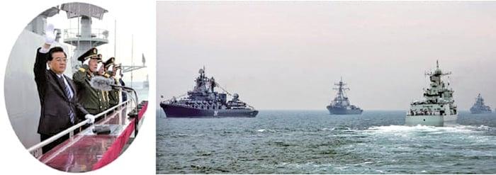 2006年5月初,胡錦濤在黃海視察北海艦隊險遭江系暗殺,炮擊發生後,直接飛往雲南一個星期後才回北京露面。(新紀元合成圖)