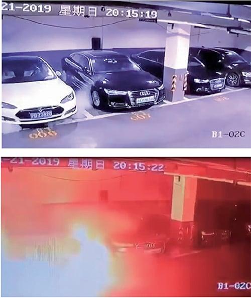 社交媒體流傳一段視頻,一輛停泊在車庫的特斯拉電動車爆炸起火,對此特斯拉稱,已經派出團隊調查。(網絡圖片)