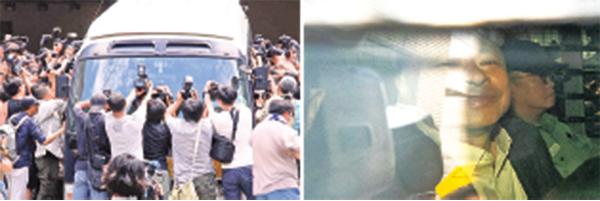 囚車將被判即時入獄的戴耀廷(右圖)、陳健民、黃浩銘和邵家臻送往荔枝角收押所。(蔡雯文、李逸/大紀元)