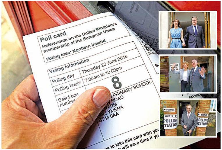 英國時間23日上午開始公投決定是否脫歐,約有4,650萬名英國人登記投票。右上:支持留歐的首相卡梅倫,攜同夫人到票站投票。右中:蘇格蘭首席部長斯特金和丈夫在投票站投票。右下:主張脫歐的英國獨立黨黨魁法拉奇到票站投下自己一票。(Getty Images)
