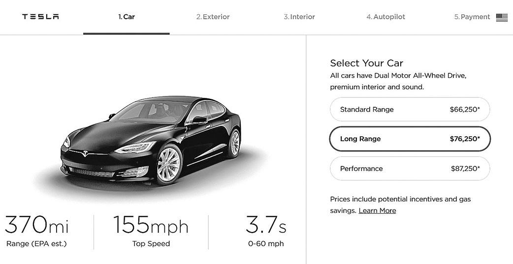 特斯拉近日發表了更新的Long Range版Model S,續航里程提高到370英里。(官網截圖)