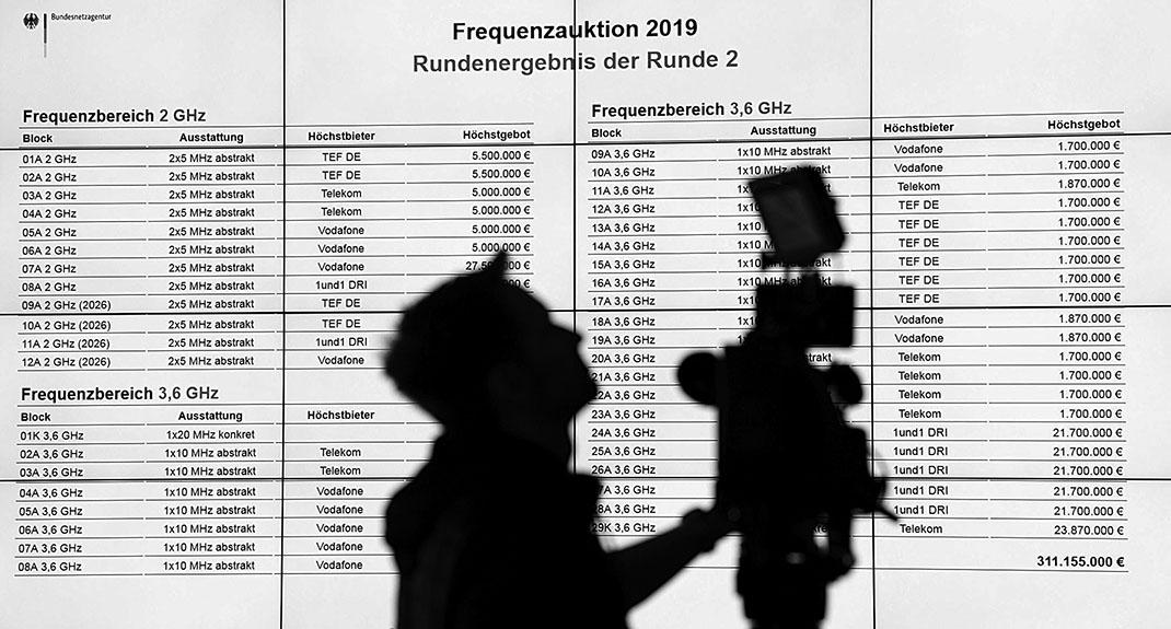 德國第二輪5G頻譜拍賣結果。(Getty Images)