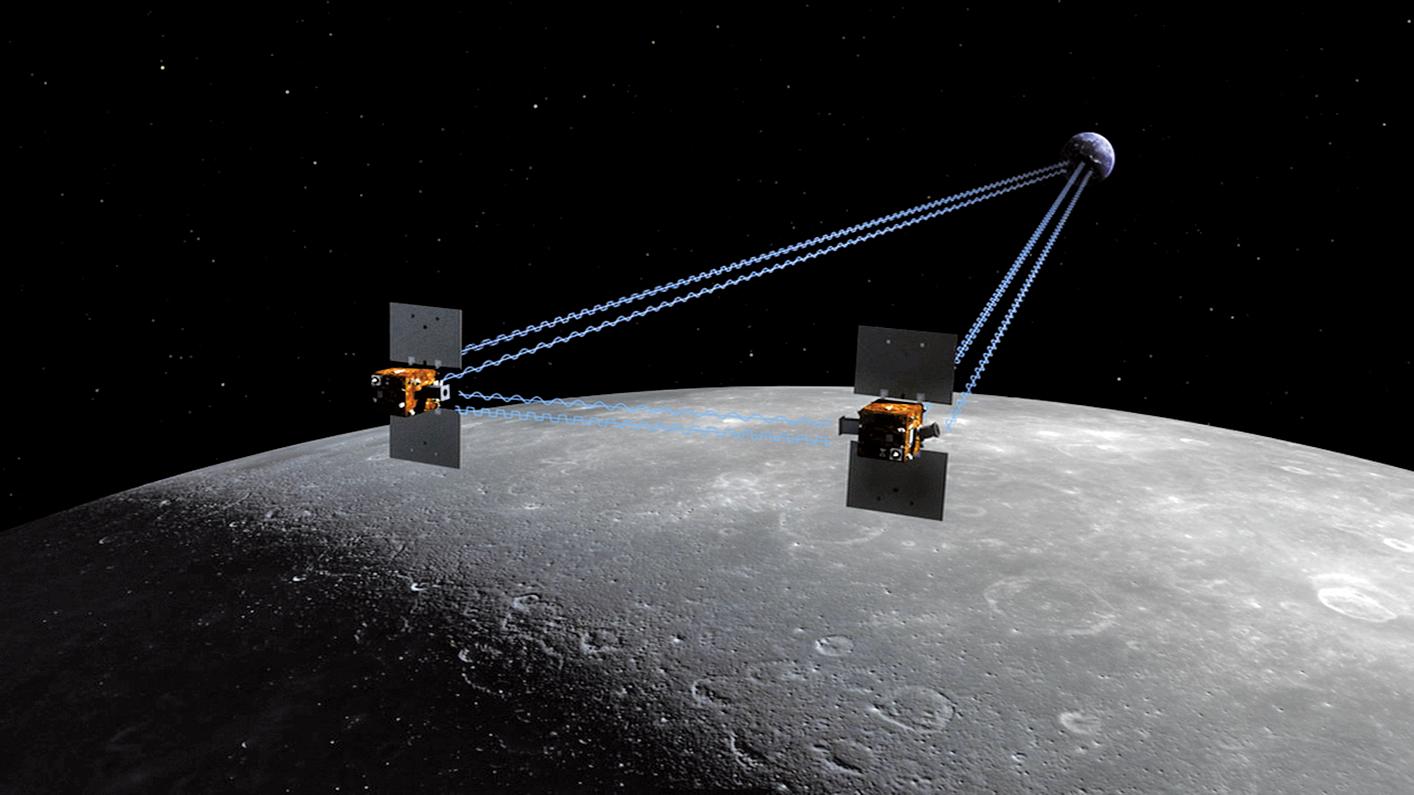 重力重建與內部結構實驗室的任務是通過精確探測並繪製月球的重力場圖以判斷月球內部構造。圖為該任務所使用的兩個小型探測器的示意圖。(維基百科)