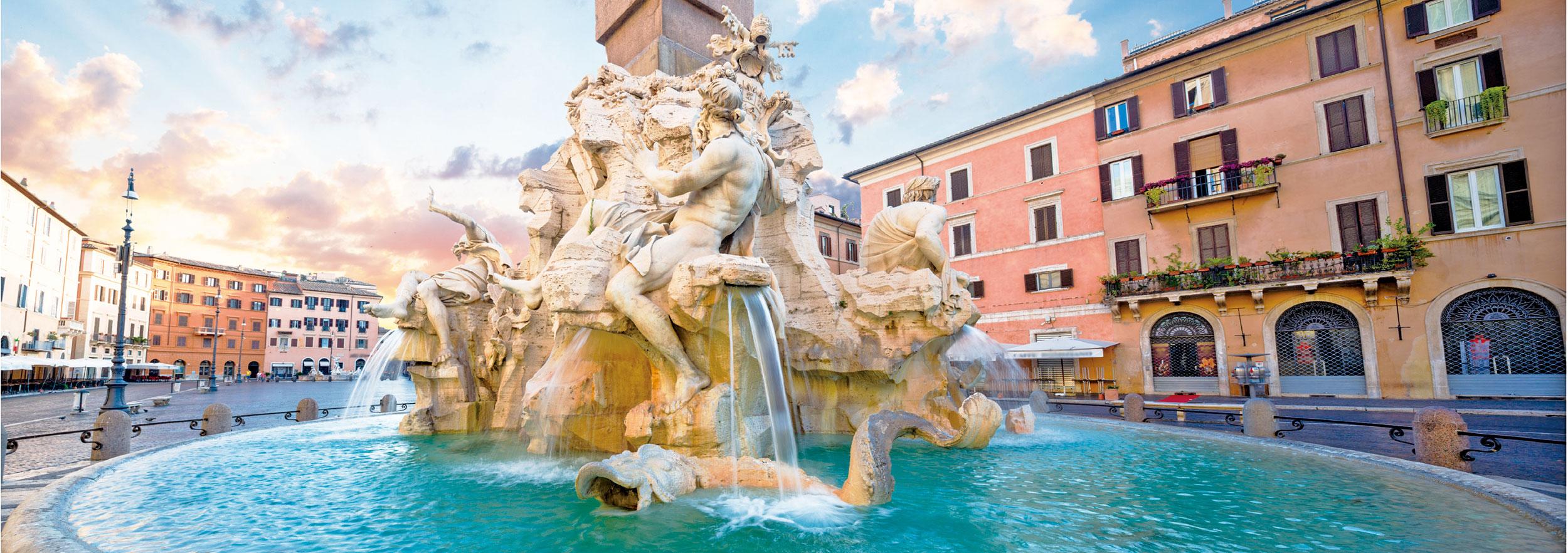 羅馬納沃納廣場四河噴泉雕像。(shutterstock)