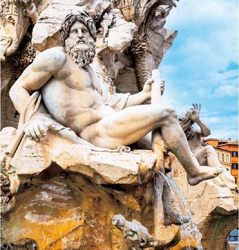 羅馬納沃納廣場四河噴泉雕像之恆河河神,棕櫚樹由貝尼尼親自雕刻。(Belenos/shutterstock)