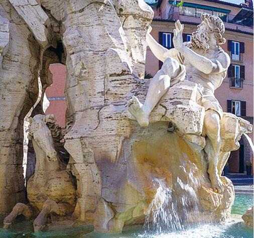 羅馬納沃納廣場四河噴泉雕像之多瑙河河神,下方的駿馬由貝尼尼親自雕刻完成。(Wolfgang Moroder/Wikimedia)