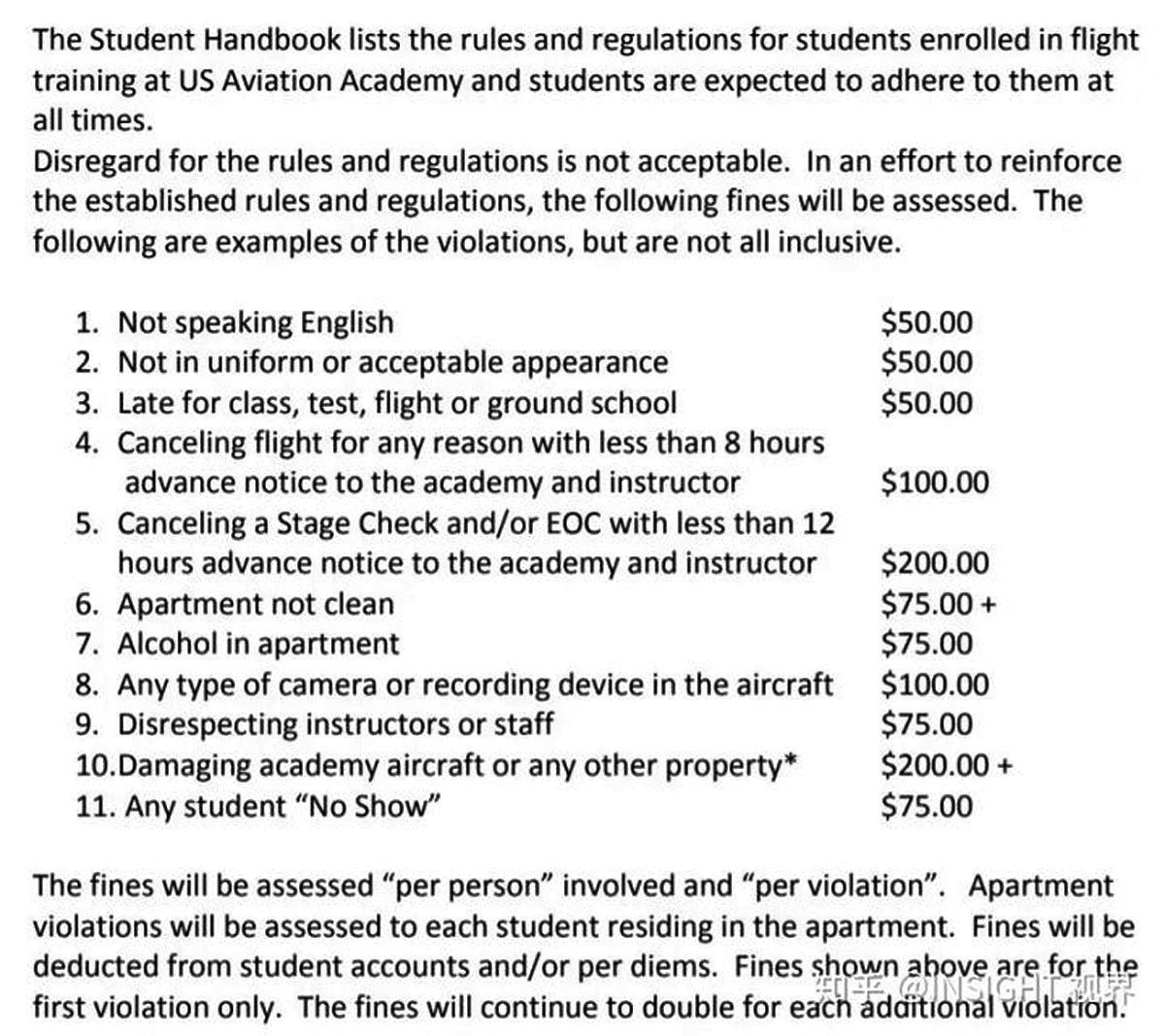 USAG給中國飛行員列出的各種規章制度,包括「不說英文」、「遲到」「宿舍不乾淨」、等等都有對應的罰款標準。(網絡圖片)