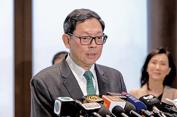 陳德霖表示:金管局推三措施支持綠色及可持續金融。(攝影/宋碧龍)