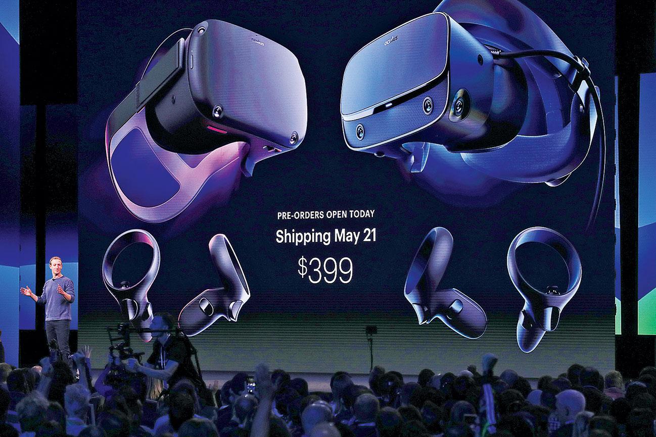 在2019臉書F8年度開發者大會上,VR頭戴式新品Oculus Quest開始接受預售。(Justin Sullivan/Getty Images)