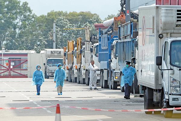 食環署職員及身穿保護衣人員在屠房準備銷毀工作。(宋碧龍/大紀元)