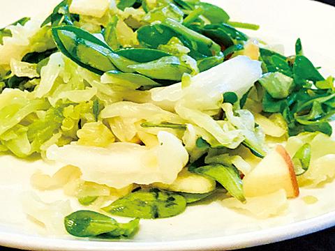 馬齒莧涼拌高麗菜。