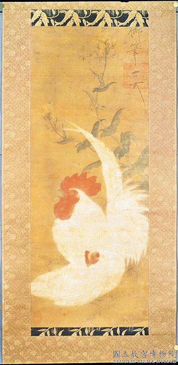 宋徽宗‧雌雄白雞圖 軸(公有領域)
