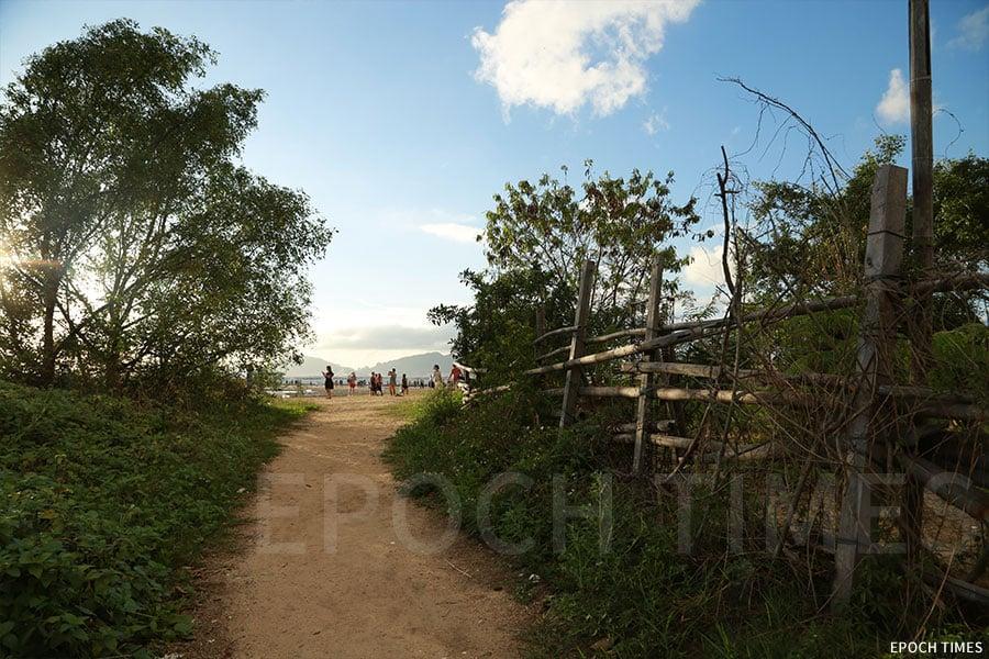 前往泥灘的小徑。(陳仲明/大紀元)