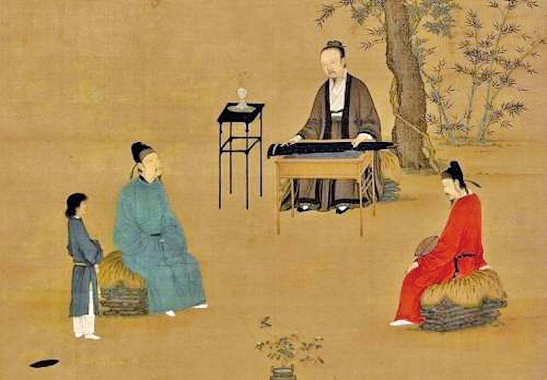 琴是中國古代文化中地位最崇高的樂器,有著三千多年的歷史。圖為宋徽宗趙佶‧〈聽琴圖〉局部(公有領域)