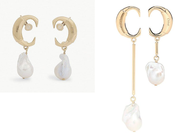 Chloé白色巴洛克珍珠水滴形耳環。(Lyst)
