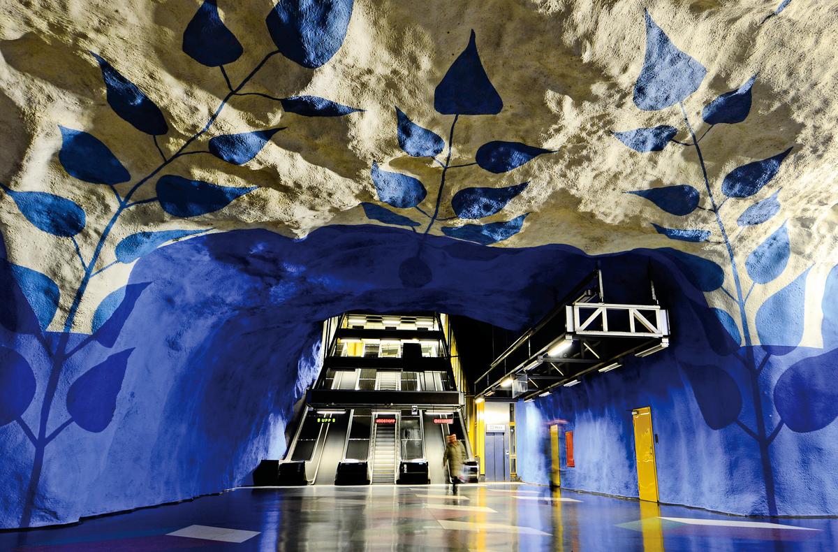 斯德哥爾摩地鐵站看起來就是地下洞穴。