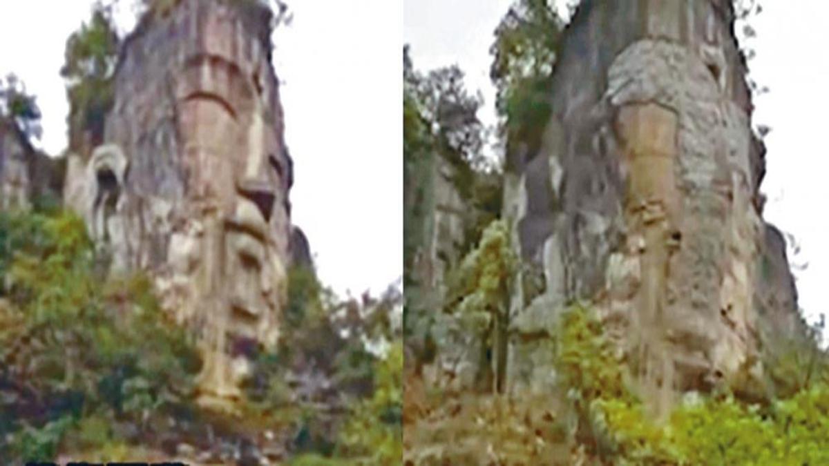近日,被稱「世界第一大自然石佛」的下水大佛頭像被水泥填平。當地政府辯稱,是為了防止岩石鬆脫的「加固工程」。(網絡圖片)