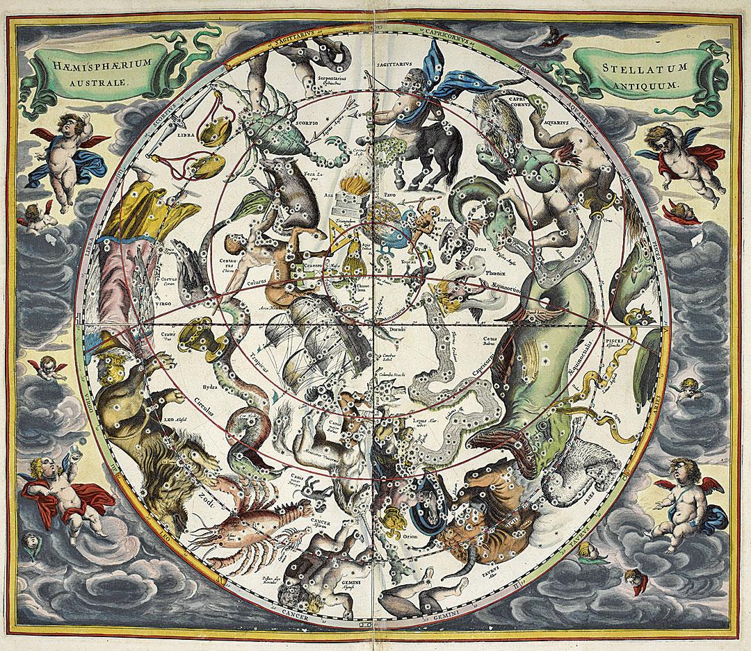 公元17世紀的占星術星座圖。(維基百科)