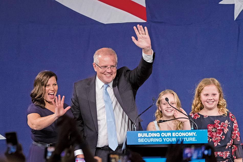 澳洲國會大選,莫里森領導的聯合政府出乎預期,領先出口民調看好的勞工黨,可望繼續執政。(Getty Images)