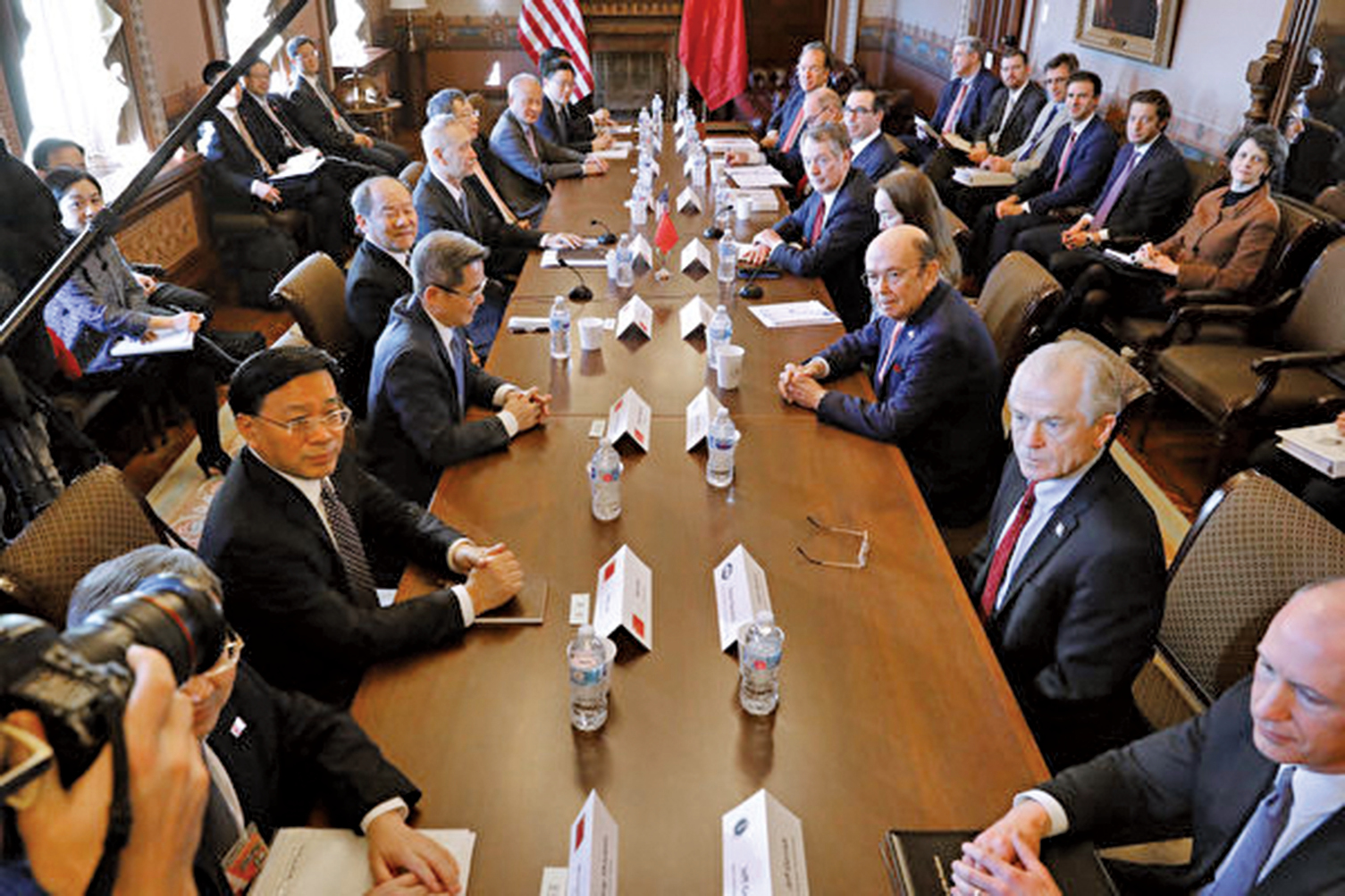 2019年1月底在華盛頓舉行的中美貿易談判。(Getty Images)
