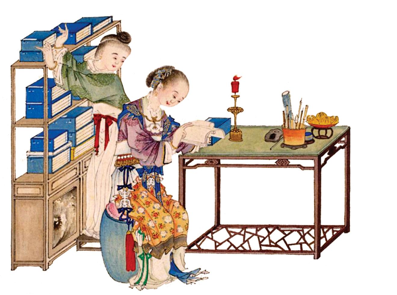 《仕女清娛圖》冊之「閱書」,清喻蘭繪。(公有領域)