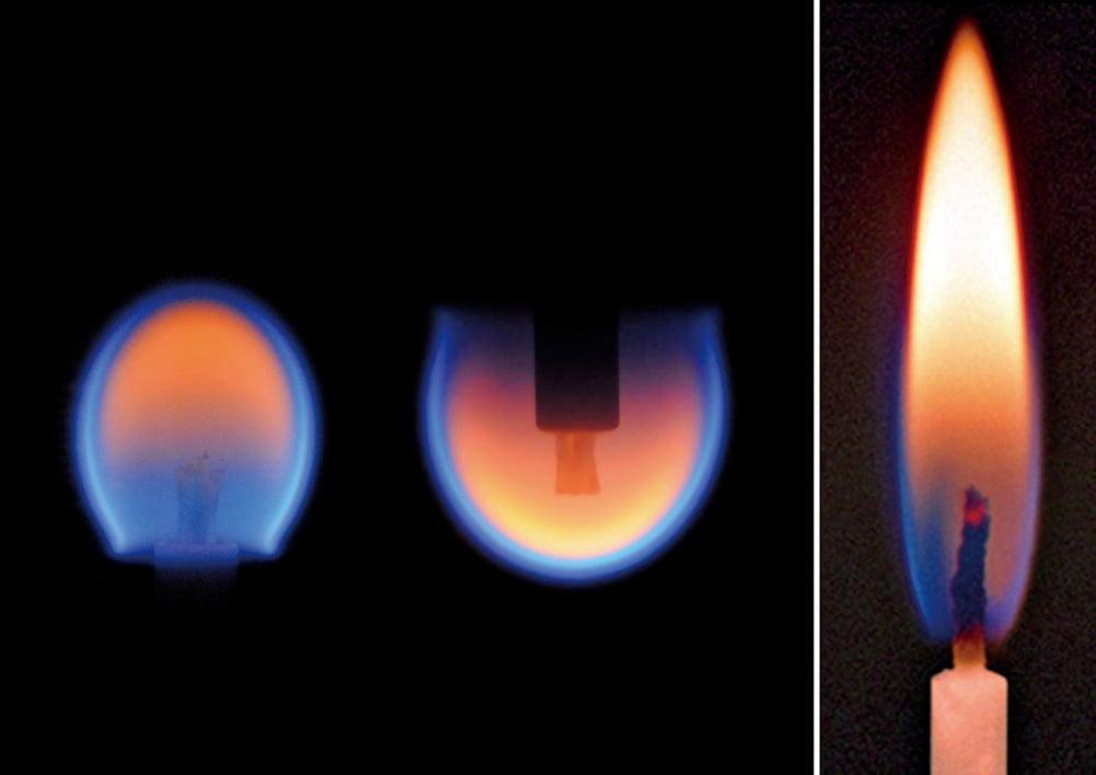 在太空微重力環境下,火焰的形狀也有所不同。圖中右邊為地球上的正常火焰,左邊兩個為微重力環境下的火焰形狀。(NASA)