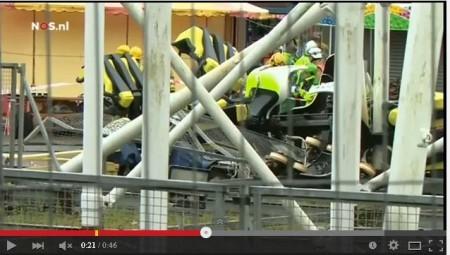 如同恐怖片 英國過山車從高空脫軌墜地