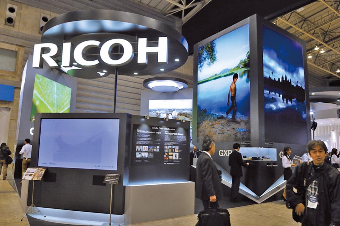 日本理光16日宣佈將把影印機生產線從大陸遷至泰國。圖為理光的展示台。(章妮妮/大紀元)