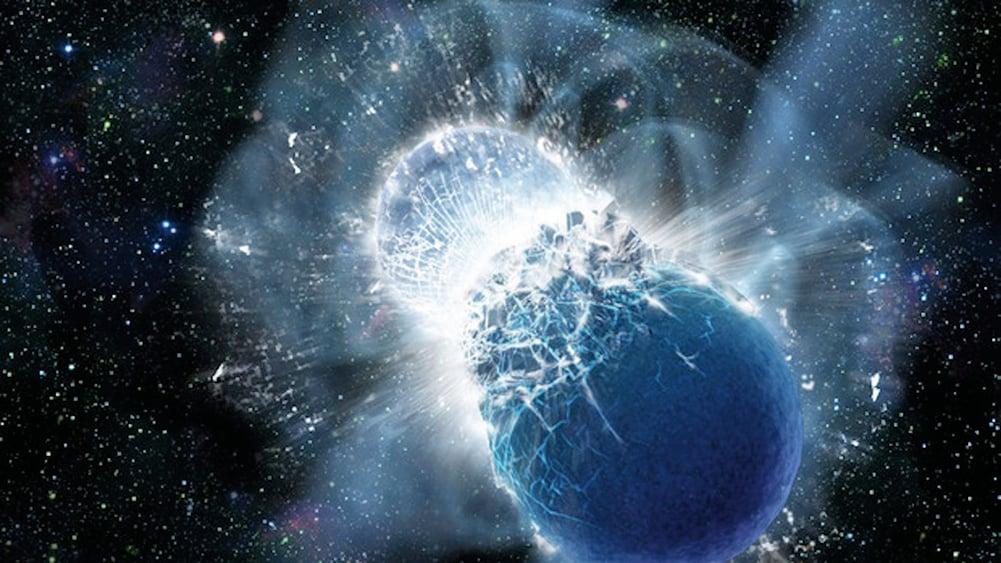 中子星碰撞示意圖。(NASA)