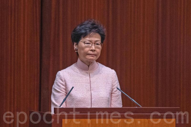 林鄭月娥到立法會接受半小時的短問短答質詢。(李逸/大紀元)