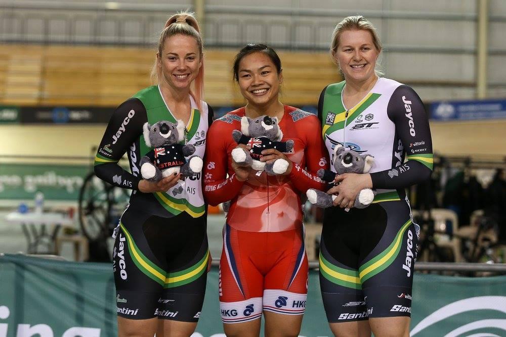 李慧詩首日在競逐爭先賽,總場數以2比1奪金。(Cycling Australia facebook)
