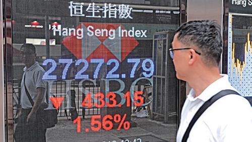 恒生指數昨日收報27,267點,下跌438 點或1.58%。大陸股市,上證收2,852, 跌1.36%, 深成指收8,809,挫2.56%。( 宋碧龍/大紀元)