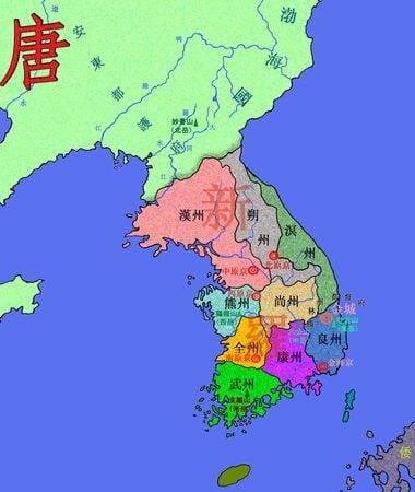 高句麗滅亡後的朝鮮半島版圖。唐太宗數次討伐高句麗後,即收復遼寧一帶很多南北朝時期被高句麗奪取的土地,最後高句麗滅亡,留存的新羅控制朝鮮半島大同江以南地區,大同江以北由唐和後來崛起的渤海國占據。(GeorgeZhao/維基百科)