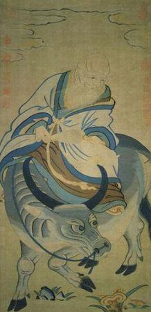 宋緙絲〈青牛老子圖〉,老子在函谷關寫下五千言《道德經》,寫完後便騎牛向西而去。現藏台北故宮博物院。(公有領域)