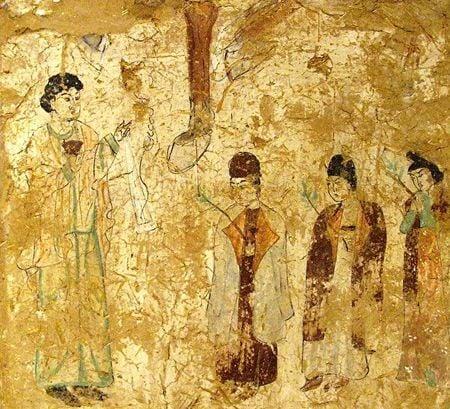 新疆柏孜克里克洞窟壁畫描繪景教派神職人員列隊前進(Gryffindor/維基百科)