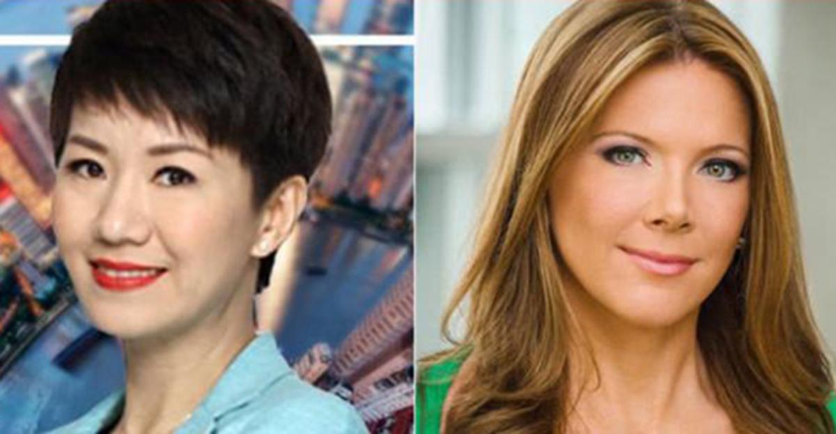 不斷升級的中美貿易戰,意外衍生出了一場中美電視女主播之間的「唇槍舌戰」,以及一場現場辯論。(合成圖片)