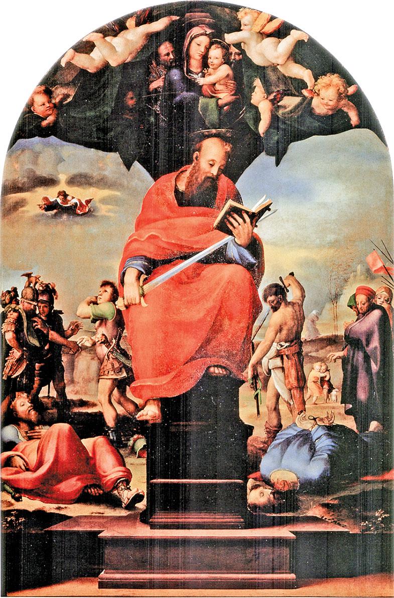 《聖座上的聖保羅》(Domenico Beccafumi)。畫中保羅穩居聖座,一手持劍、一手持聖書,背景中的血雨腥風,襯托出聖徒的平靜與超脫。(公有領域)