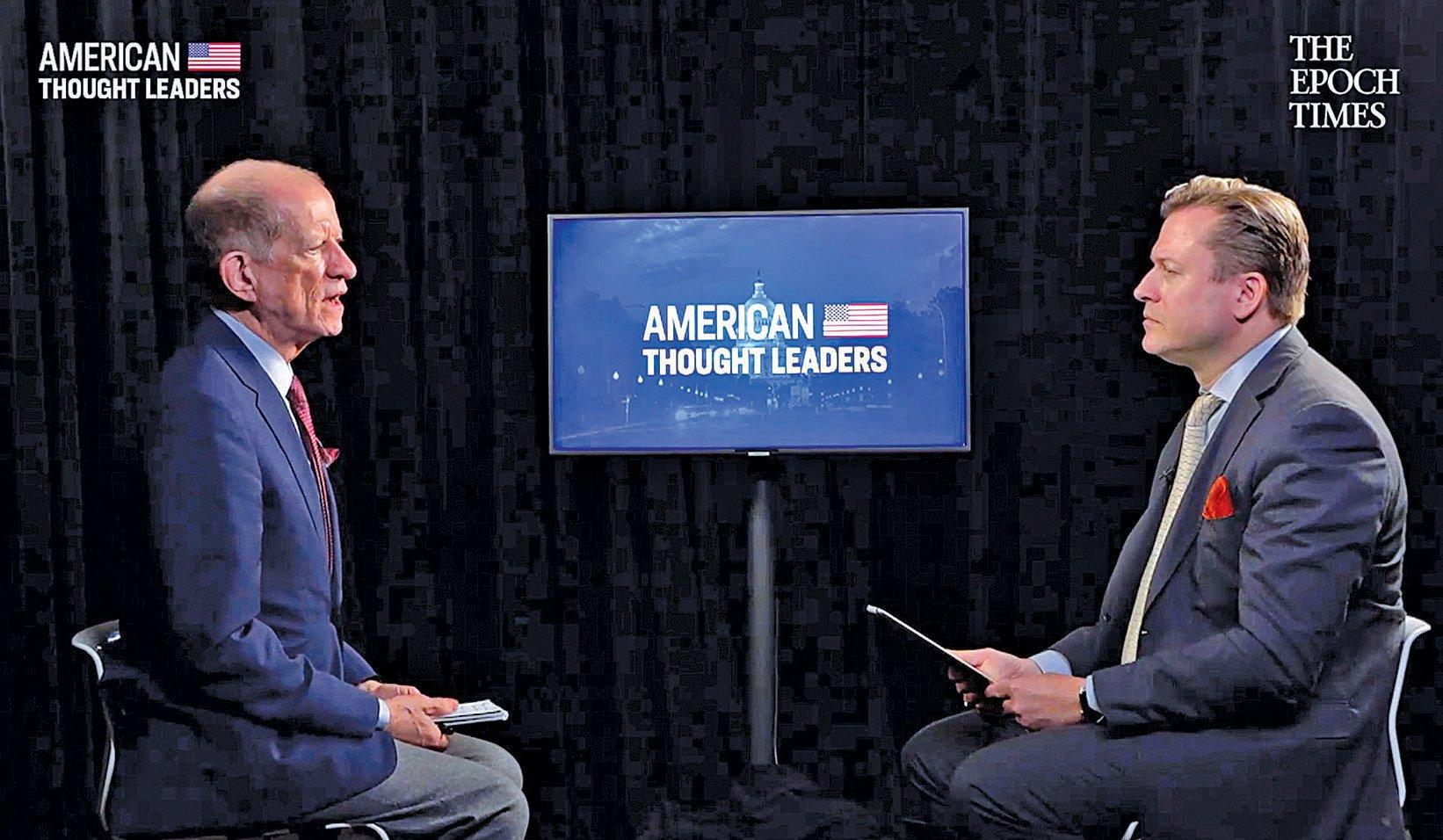 英文大紀元資深記者揚耶凱利克(右)和「美國優先政策」組織資深政策顧問柯提斯艾立斯在專訪中。(視頻截圖)