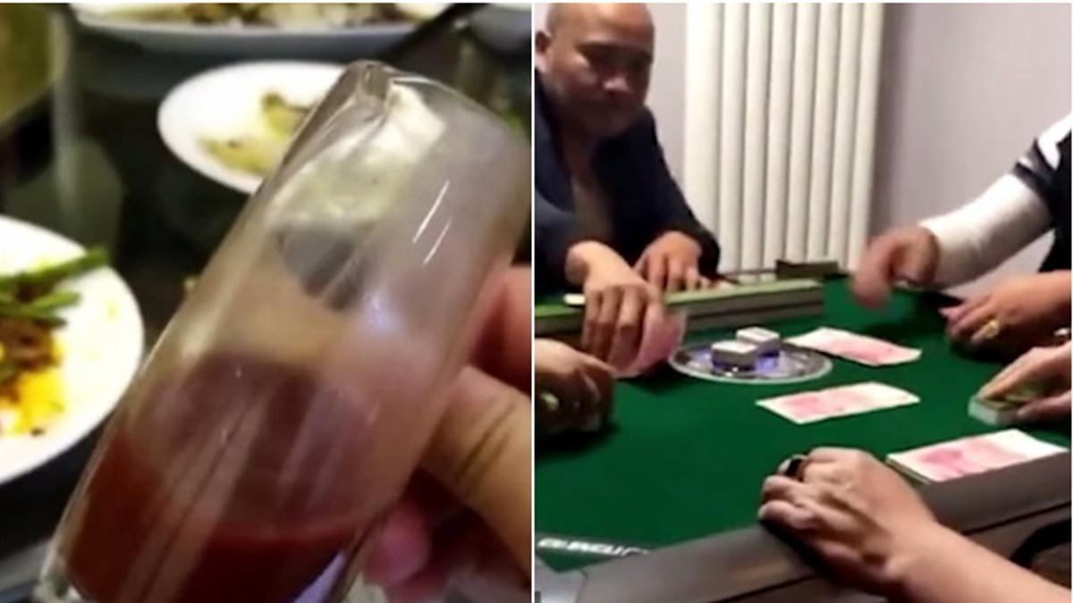 影片中可見,王紅強用現鈔點煙,又聲稱自己喝茅台喝膩了,要改喝鹿血酒,更叫囂:「連中紀委都管不了我!」(影片截圖)