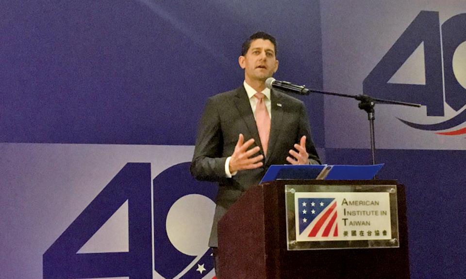 美國眾議院前議長瑞恩於「台灣關係法 & AIT@40:40年友誼慶祝酒會」致詞(美在台協會圖片)